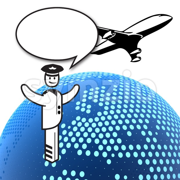 Pilot, Plane and Dotted Globe Stock Photo