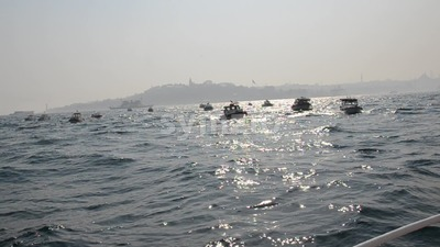 Istanbul Fishing Boats Footage Stock Video