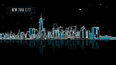 New York by Night with Firework Intro Animation Stock Video