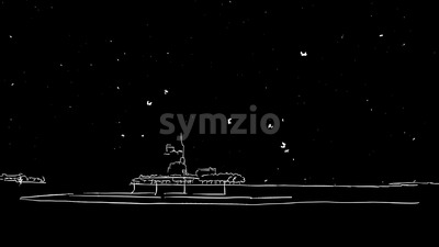 Liberty Statue and New York Skyline Timelapse Animation on Black Stock Video
