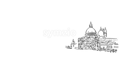 Venice Grand Canal Animated Sketch on White Stock Video