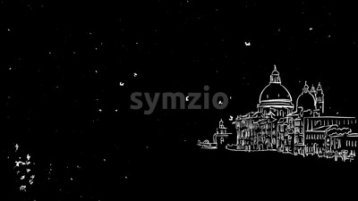 Venice Grand Canal Animated Sketch on Black Stock Video