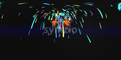 VR 360 Firework Background in Dark Space Stock Video