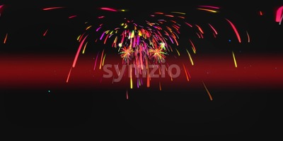 Red Fireworks VR 360 4K Background Equirectangular Footage Stock Video