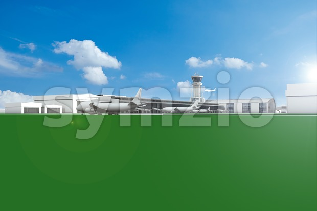 Airfield with planes and blue sky and copy space illustration