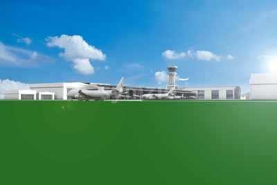 Airfield with planes and blue sky Stock Photo