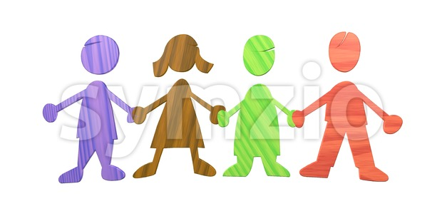 Wood cutted Kids holding Hands isolated on white in different colours