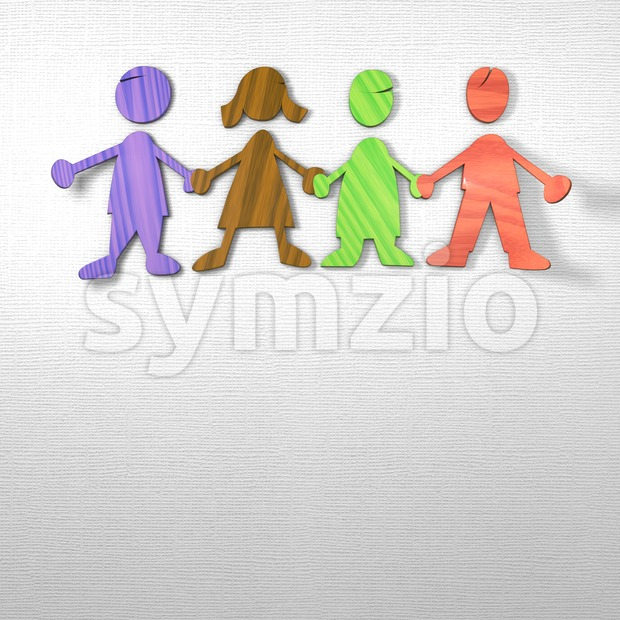 Kids holding Hands on paper background Stock Photo