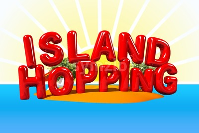 Island Hopping in Big Letters Stock Photo
