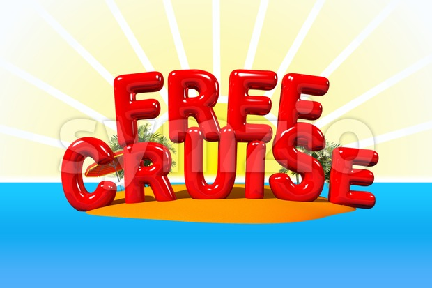 Free Cruise to Island Stock Photo