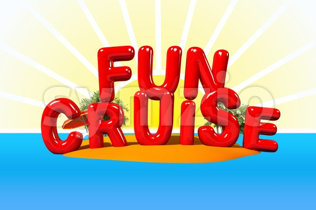 Fun Cruise on Island in Big Letters, 3D Illustration