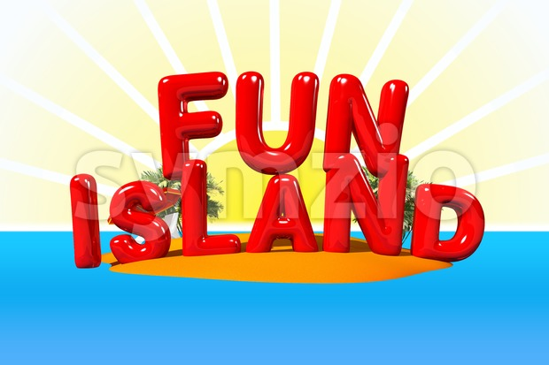 Fun Island Illustration in Big Letters, 3D Illustration