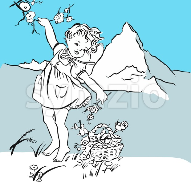 Pick flowers on the Matterhorn, hand-drawn vector clipart
