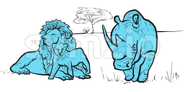 Rhino and lions illustration Stock Vector