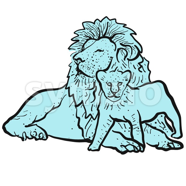 Old Lion and Young Lion Stock Vector