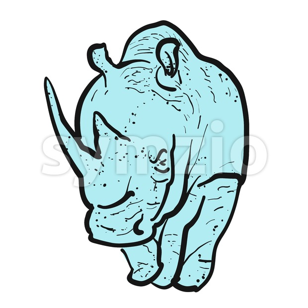 Endangered rhino outline illustration Stock Vector