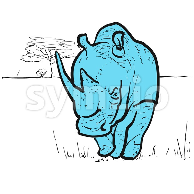 Endangered rhino in savannah, hand-drawn vector clipart