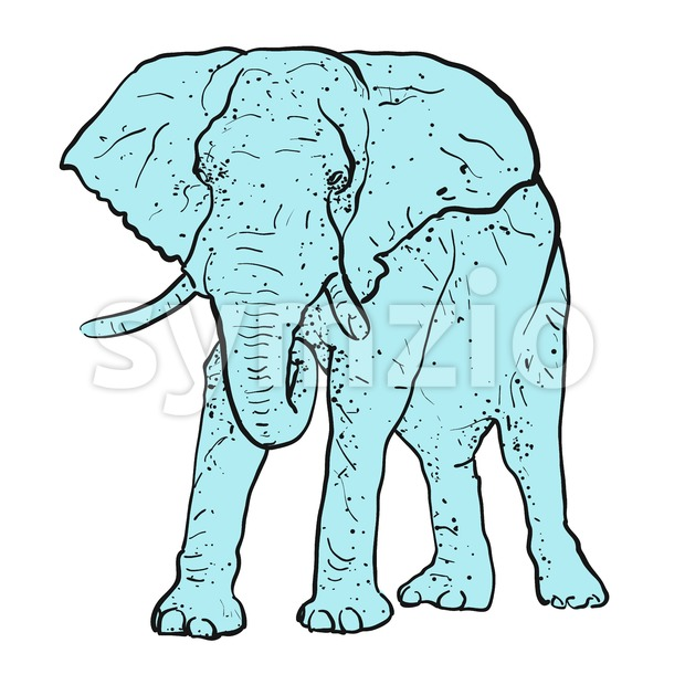 Elephant Outline dots colored blue Stock Vector