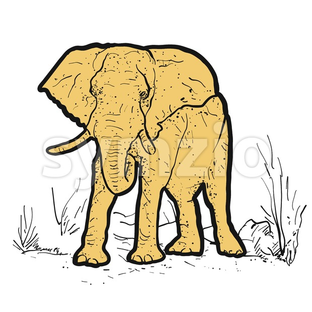 Elephant Outline dots colored yellow Stock Vector