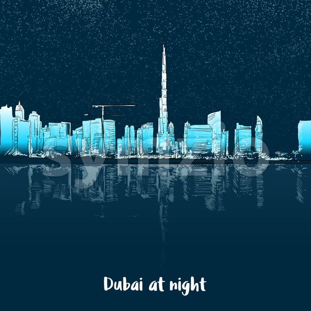 Dubai Skylinine at night Stock Vector