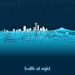 Seattle Skylinie at night Stock Vector