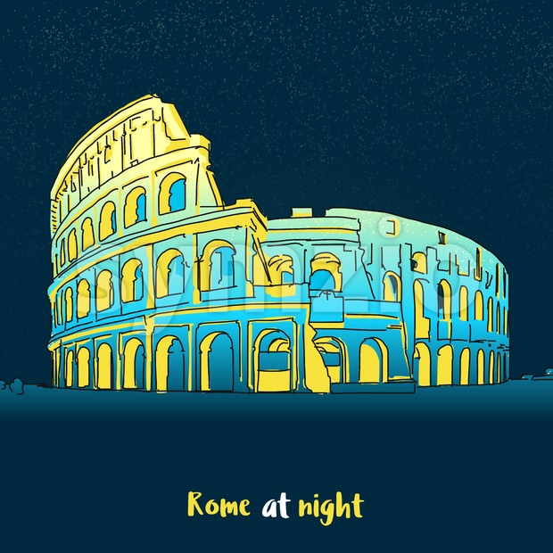 Rome Colosseum Skyline at night Stock Vector