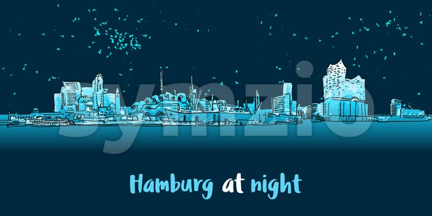 Skylinie Hamburg Port Panorama at night Stock Vector