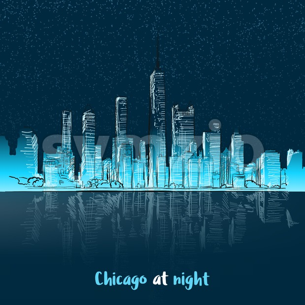 Chicago at night seen from lake Stock Vector