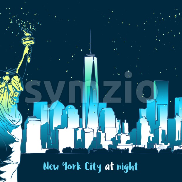 New York at Night with lady liberty Stock Vector