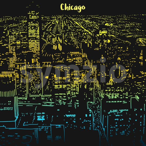 Chicago city lights at night Stock Vector