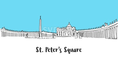 St Peter Square Vatican City Stock Vector