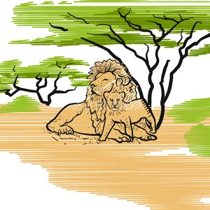 Lion Family Icon Illustration Stock Vector