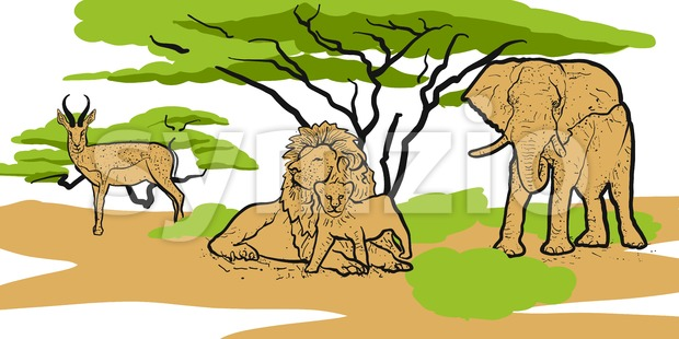 Savannah Animals Sketched Print Design Stock Vector