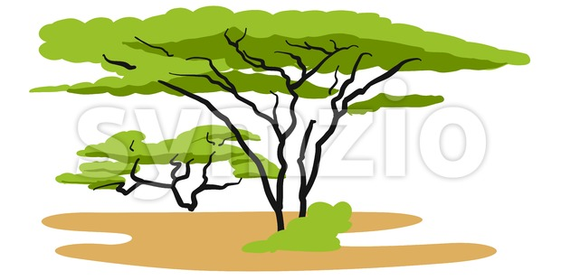 Savannah Background Illustration, Hand-drawn Vector Outline Sketch