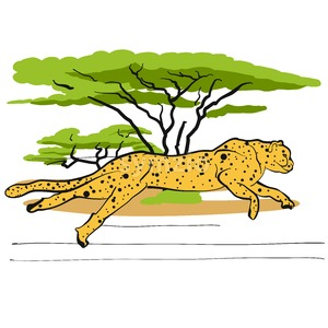 Cheetah in savannah Stock Vector