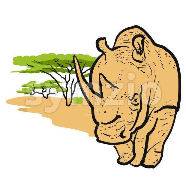 Rhino in savannah Card Design Stock Vector