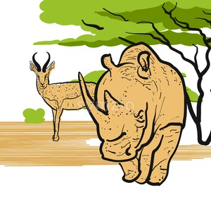 Rhino and Antelpoe in savannah Stock Vector