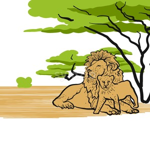 Lions in savannah chilling Stock Vector