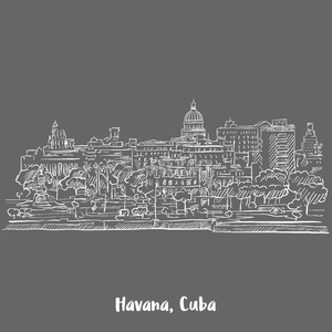 Havana, Cuba White on Grey Stock Vector