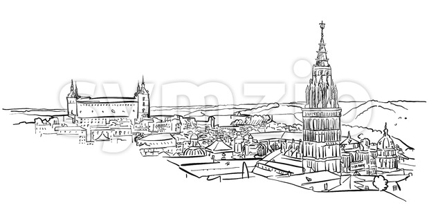 Toledo Ancient Panorama Wall Art Stock Vector