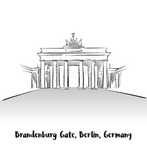 Brandenburg Gate Berlin Greeting Card Stock Vector