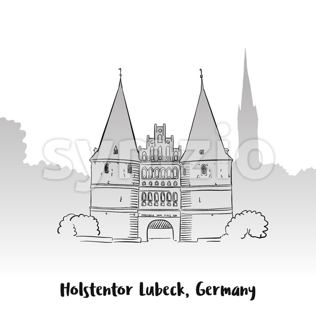 Holstentor Lubeck Greeting Card Stock Vector