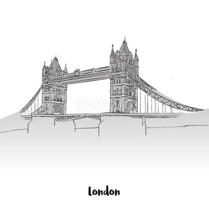 London Tower Bridge Greeting Card Stock Vector