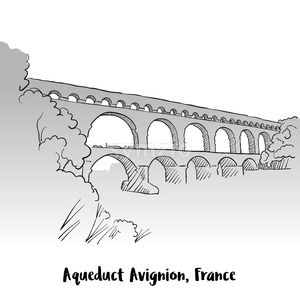 Aqueduct Avignion, France Greeting Card Design Stock Vector