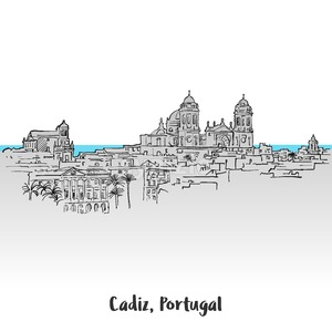 Cadiz, Portugal Panorama Greeting Card Stock Vector