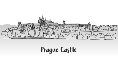 Prague Castle Greeting Card Design Stock Vector