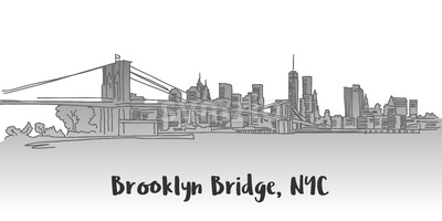 Brooklyn Bridge Manhattan Skyline Landmark Stock Vector