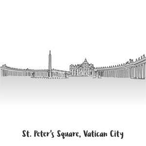 St Peter Square Greeting Card Design Stock Vector