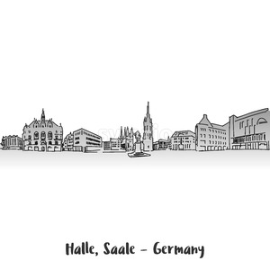 Halle Saale Market Sqare Card Design Stock Vector