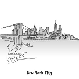 NYC Skyline Greeting Card Design Stock Vector